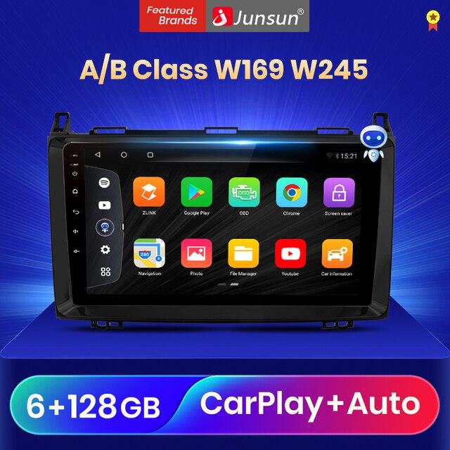 Junsun V3 Qualcomm Android 10รถวิทยุมัลติมีเดียเครื่องเล่นวิดีโอสำหรับ Mercedes Benz B Class W169 W245 CarPlay อัตโนมัติ2 Din DVD