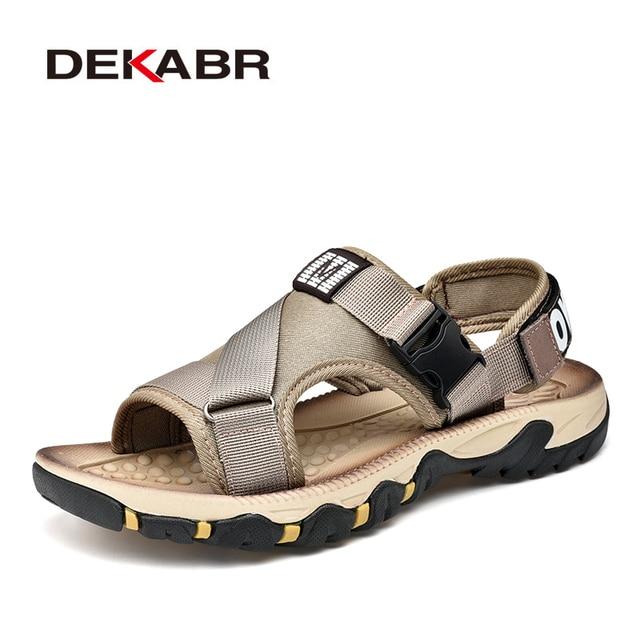 DEKABRฤดูใบไม้ผลิฤดูร้อนผู้ชายรองเท้าแตะคุณภาพสูงสบายๆรองเท้าคุณภาพดีออกแบบOutdoor Beachรองเท้าแตะสไตล์โรมันน้ำรองเท้าผ้าใบ
