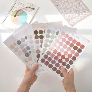 1 Sheet Morandi Series Round Dot Stickers Decorative Sticker Kawaii Deco Sticker DIY Diary Album Label Stationery Scrapbooking