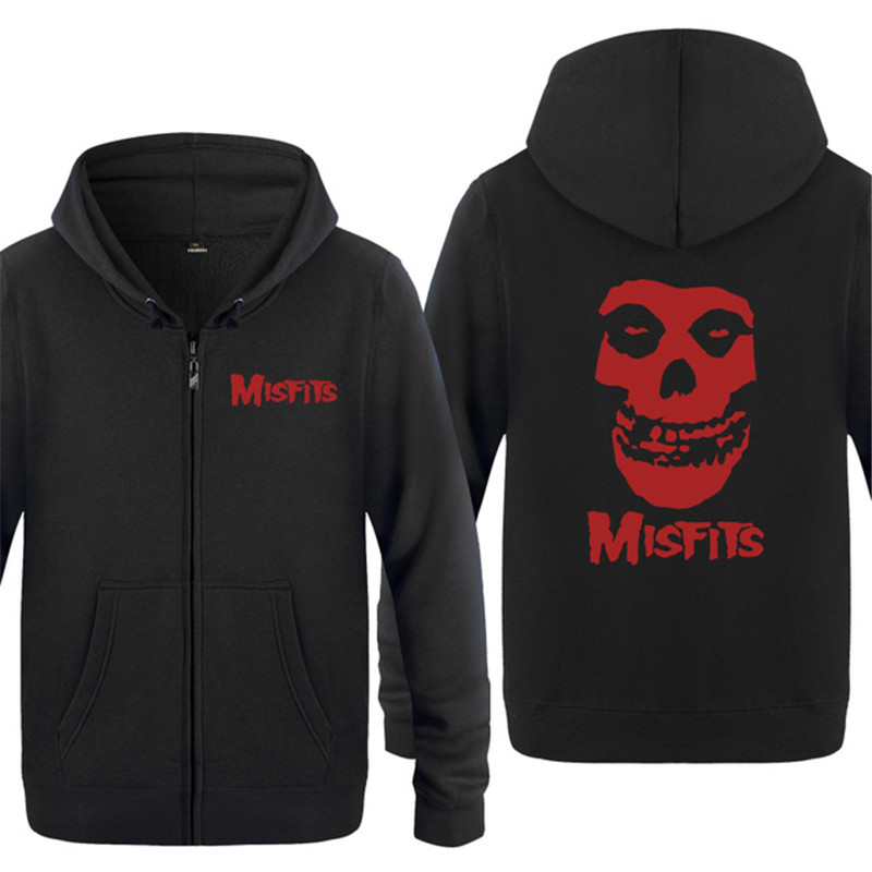 Rock Band The MISFITS hoodies Sweatshirts Punk Rock the MISFITS hoody Zipper Hooded warm Fleece Hoodies Cardigans for autumn winter vintage Skull Style coat