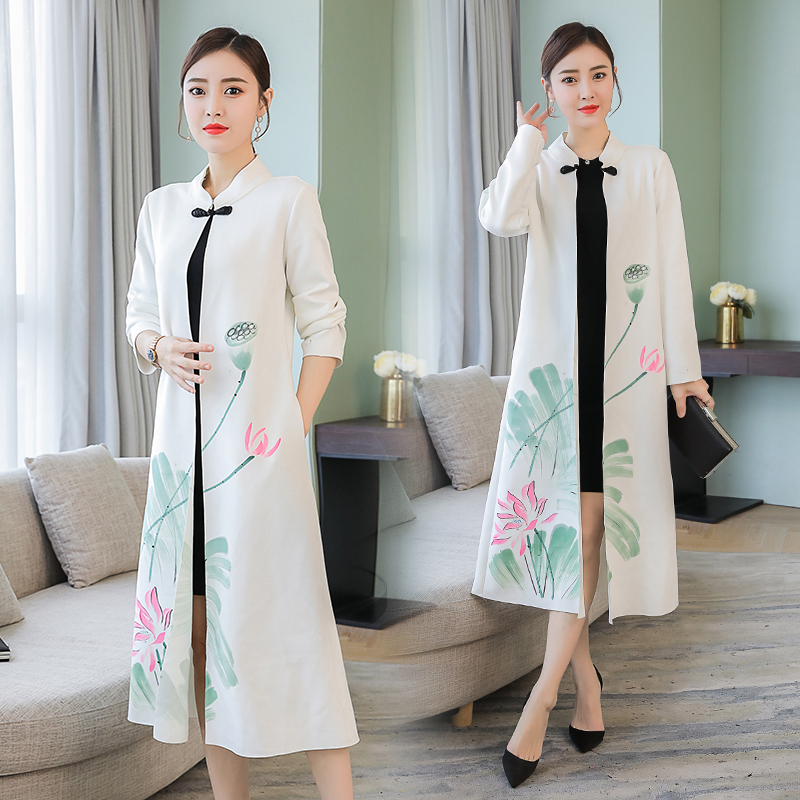 2020 China National Trend Clothing Women's Chinese Style Buttons Stand Collar Long Plus Large Top Retro Long Coat