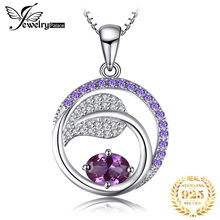 Created Alexandrite Sapphire Pendant Necklace 925 Sterling Silver Gemstones Choker Statement Necklace Women Without Chain jewelrypalace 3ct created ruby pendant necklace 925 sterling silver gemstones choker statement necklace women without chain