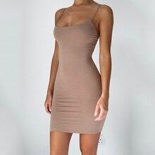 Новинка 2021, модное летнее женское мини-платье на бретелях-спагетти, облегающее платье без рукавов, пикантное облегающее платье, Хлопковое п...
