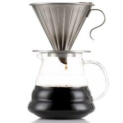 Wlać ponad kroplownik kawowy zestaw 304 ze stali nierdzewnej do kawy z V60 filtry papierowe