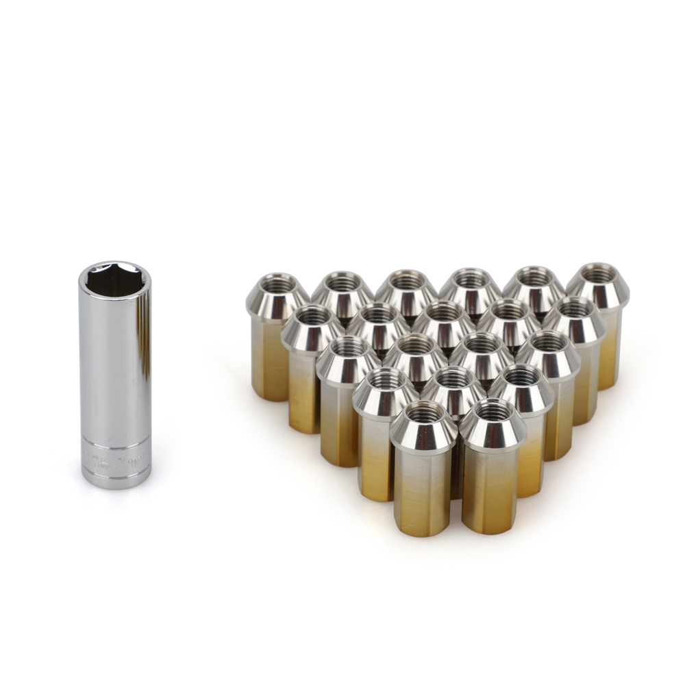 20PCS Racing Car Modification lug nuts 45MM Stainless Steel lug nut Tapered conical seat M12*1.5 HEX17MM