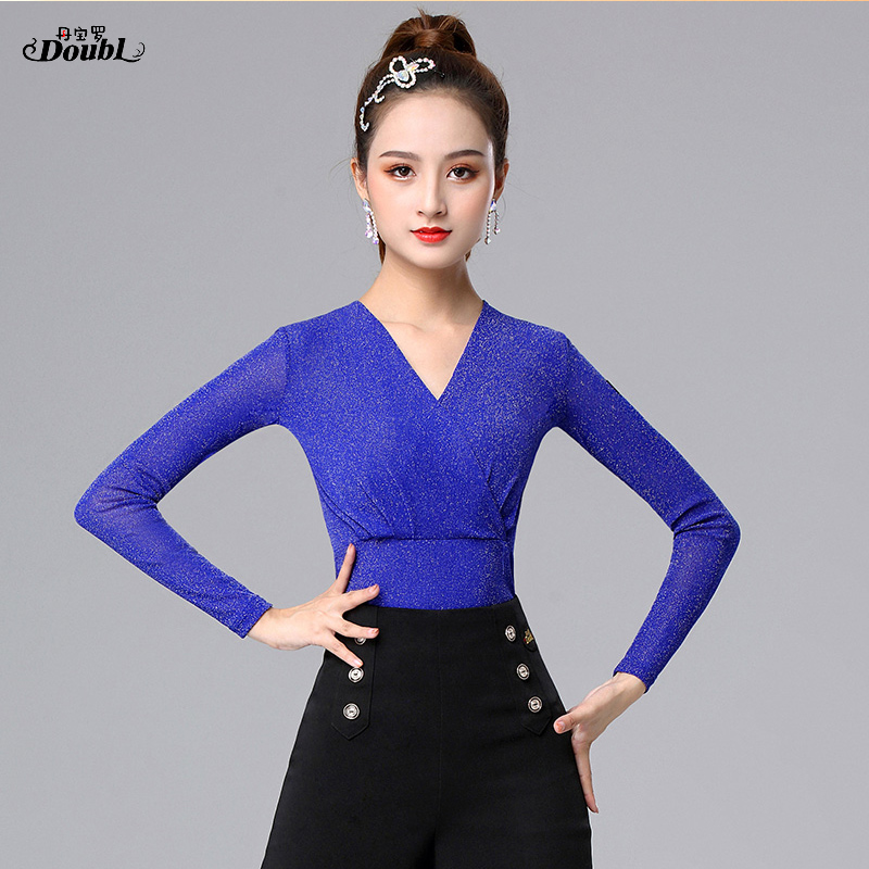 Excellent Quality Latin Dance Tops V-neck Female Sexy Performance Dancing Shirt Ballroom Cha Cha Samba Practice Dance Clothes