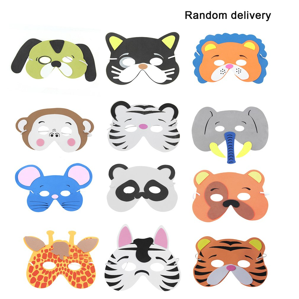 EVA Children Masks 12PCS/Set Upper Half Face Cartoon Animal Supplies For Children Kids Birthday Party (Pattern Random)Funny Toy
