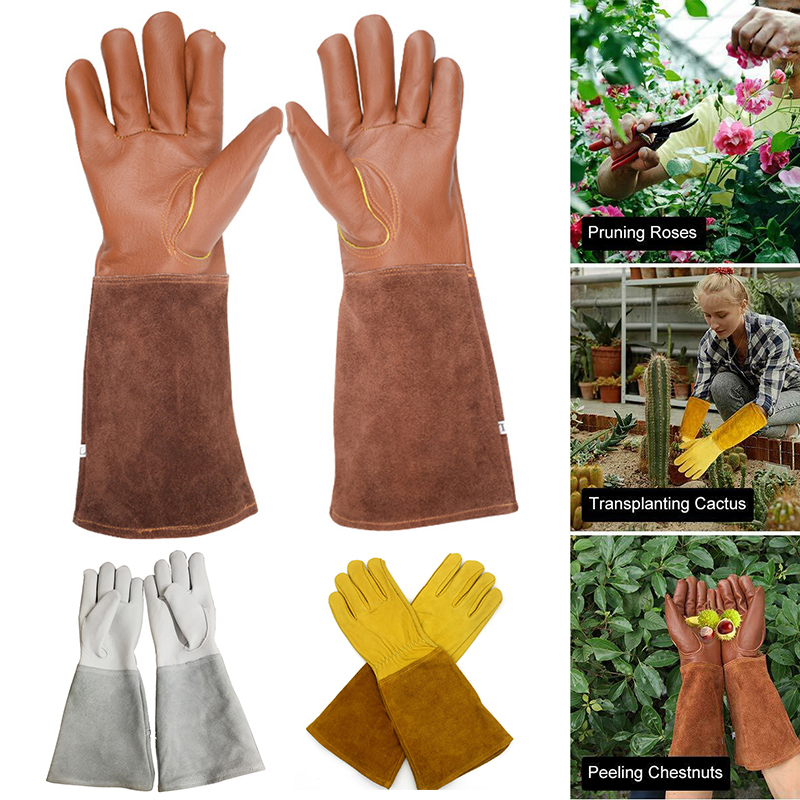 Cactus Rose Pruning Gloves Leather Thorn Proof Long Sleeve Gardening Gauntlet Gloves For Men And Women Garden Tools