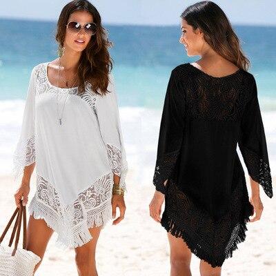 Beach Coverup Swim Skirt Dress Clothes Swimsuit Swimwear Womens Cover Polyester Fabrics Spell Lace Upper Garment Animal
