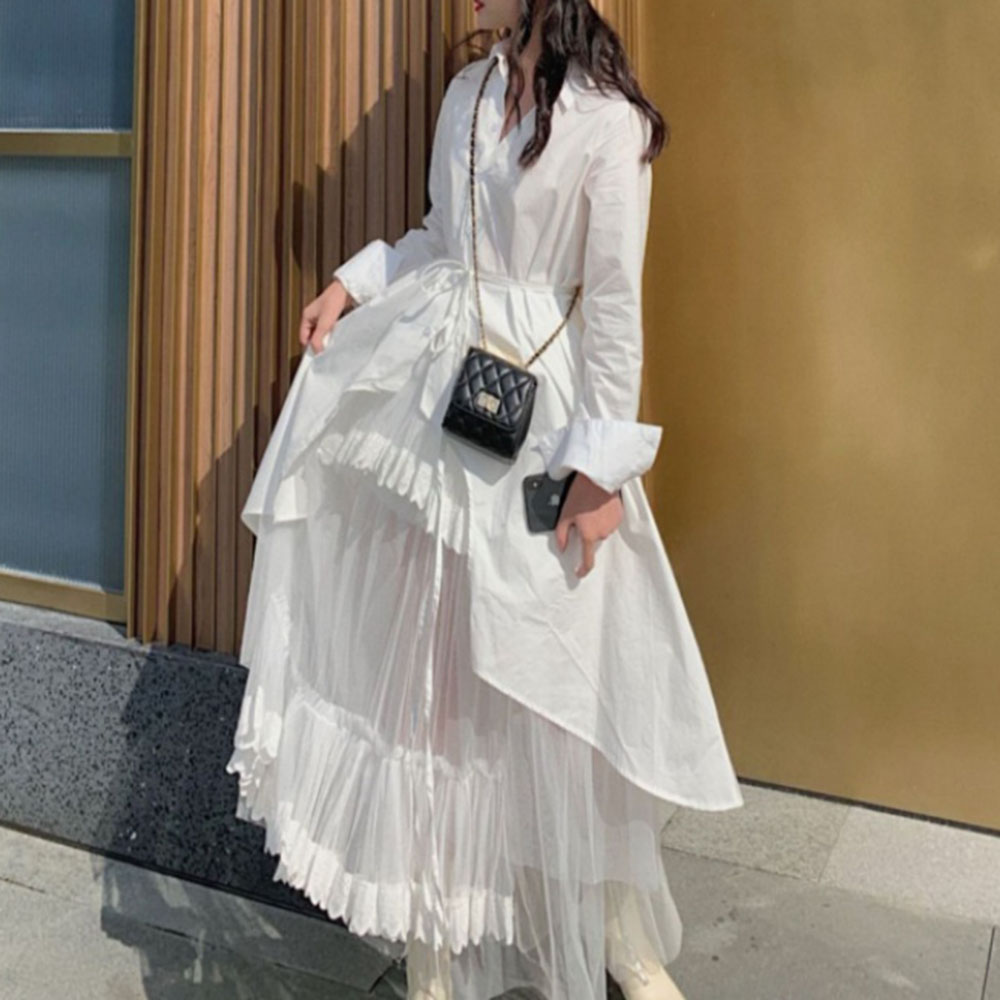 Boho Women Two Piece Sets Women 2020 Spring Korean Causal Long Sleeve White Shirts Coat  And Mash Long Dress Japan Young Girl