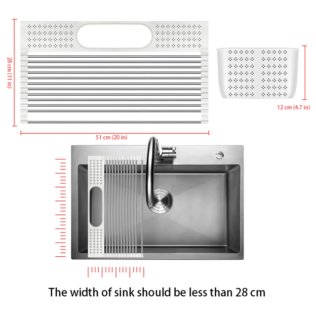Dish Drainer Over Sink For Kitchen Organizer Multi-Use Roll-up Drying Foldable Rack  Fruit Vegetable Meat Mat Dropship 4