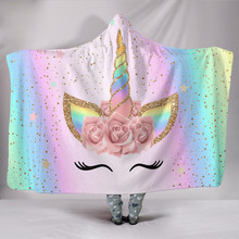 27 Colors Unicorn Plush Hooded Blanket For Adults Kids Watching TV Reading Winter Warm Wearable Fleece Hoodie Throw Blankets(China)