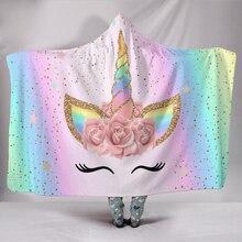 27 Kleuren Eenhoorn Pluche Hooded Deken Voor Volwassenen Kids Tv Kijken Lezen Winter Warm Wearable Fleece Hoodie Gooi Dekens