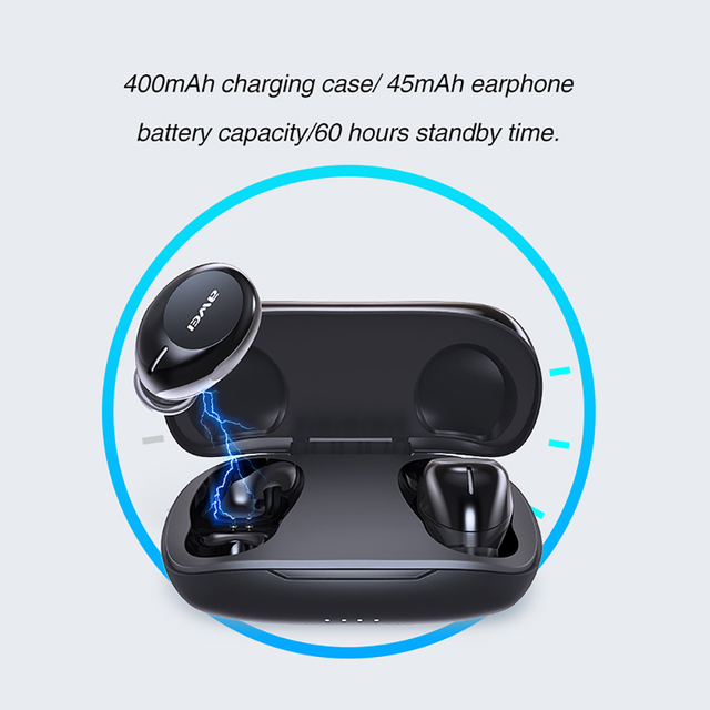 AWEI T20 Touch Control TWS Bluetooth 5.0 Headphones with Microphone 4