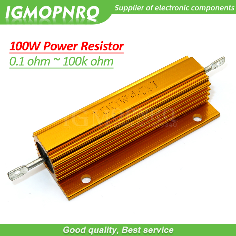 2PCS 100W Aluminum Power Metal Shell Case Wirewound Resistor 0.01 ~ 100K 1 0.5 1 2 4 6 8 10 20 100 150 200 300 500 1K 10K ohm image