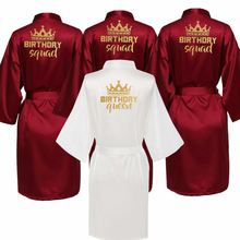 Birthday Party Queen&Squad Robes Satin Pajamas Robe Dressing