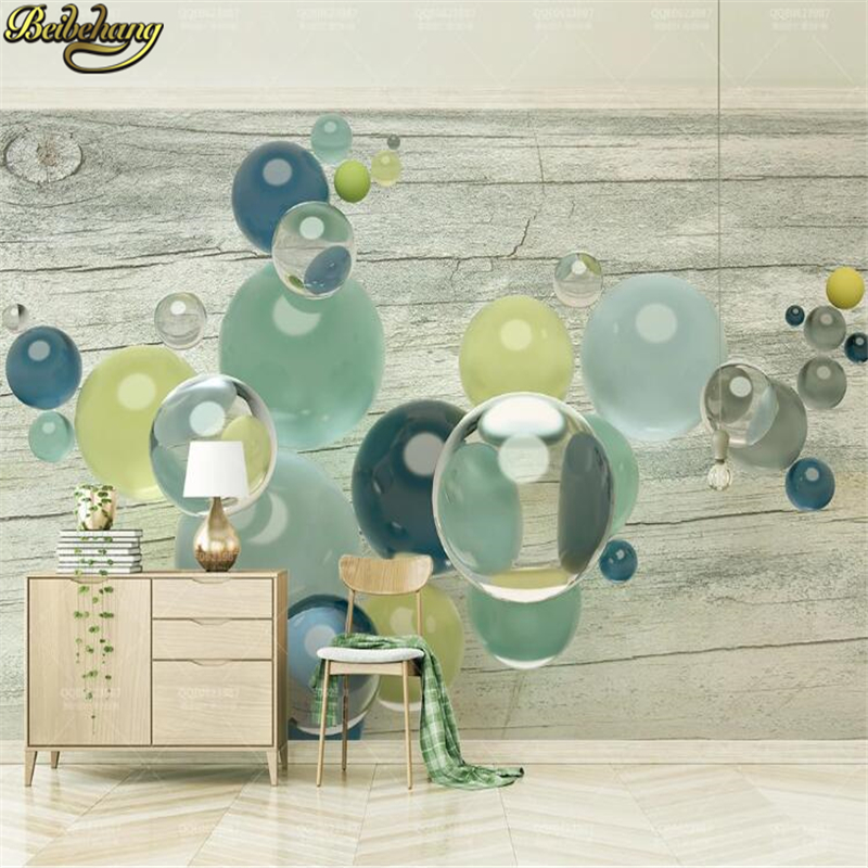 beibehang custom Colorful transparent crystal glass ball bedroom decor grain creative mural wallpaper 3d background wall paper