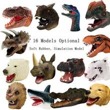 1Pcs Children's soft rubber animal dinosaur head hand puppet toy Simulation Tyrannosaurus /Raptor Soft Gloves Xmas gift for kids