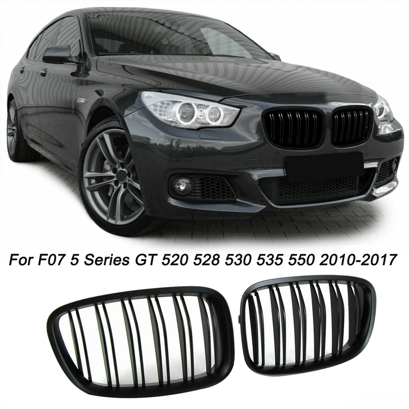 Black Front <font><b>Bumper</b></font> Hood Kidney Grill Grille For-<font><b>BMW</b></font> <font><b>F07</b></font> 5 Series <font><b>GT</b></font> 520 528 530 535 550 2010-2017 image