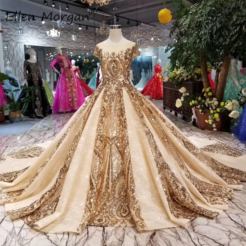 Saudi Arabian Glitter Wedding Dresses Elegant 2019 Lace Ball Gown Gold Boat Neck Cap Sleeve Court Train Bridal Gowns For Woman