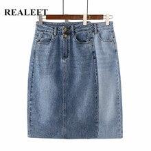 REALEFT – jupe en jean Vintage pour femmes, nouvelle collection printemps-été 2021, jupe droite, ligne a, crayon, fendue à l'arrière