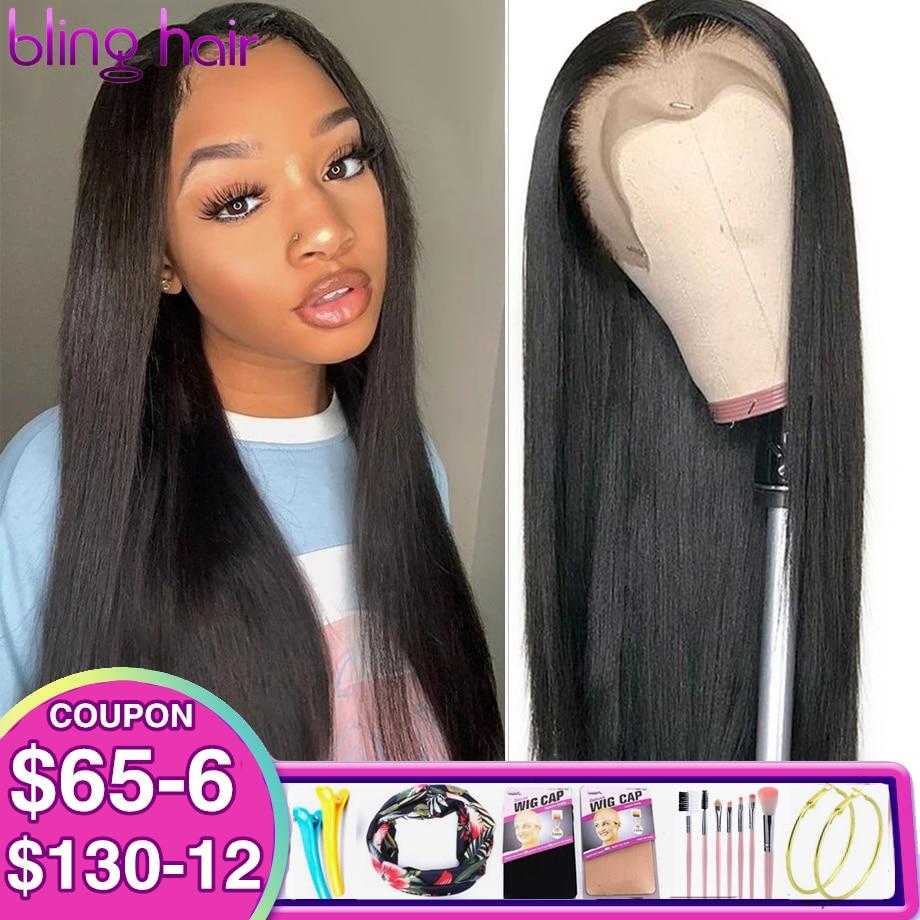 Bling cabelo peruano em linha reta 6x6 perucas de fechamento para as mulheres peruca dianteira do laço perucas de cabelo humano pré arrancadas 7x7 perucas de fechamento 28 30 Polegada