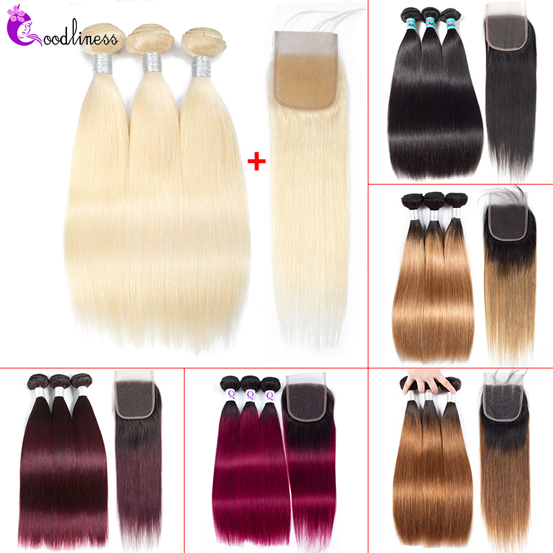 Peruvian Straight Hair Bundles With Closure Honey Blonde 613 Bundles With Closure Ombre Human Hair Bundles With Closure Remy