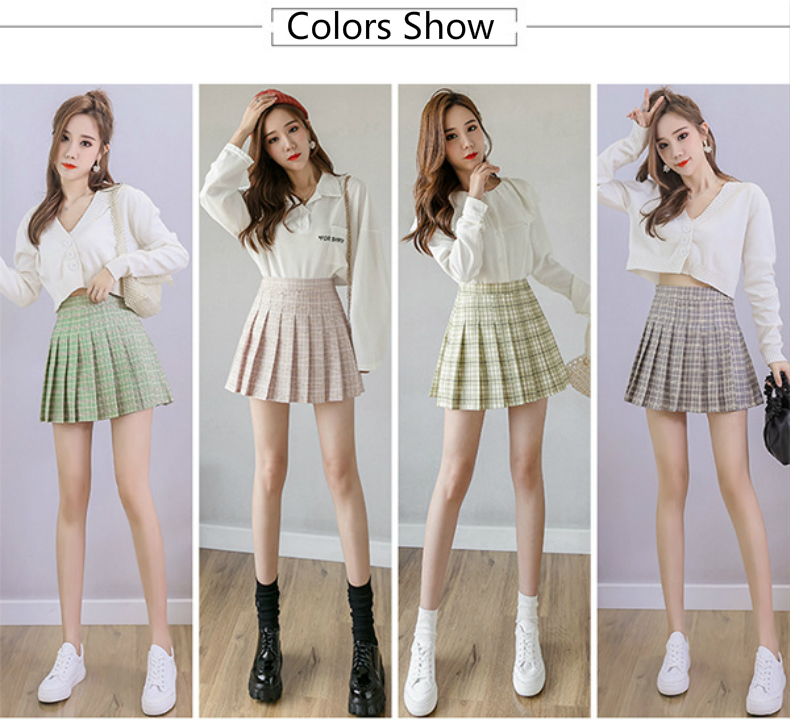 XS-XXL High Waist A-Line Women Skirt Striped Stitching Sailor Pleated Skirt Elastic Waist Sweet Girls Dance Skirt Plaid Skirt 49