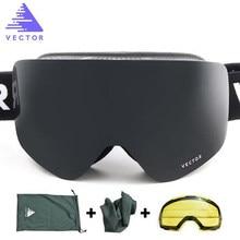 Vetor da marca óculos de esqui uv400 lente dupla uv400 óculos de esqui anti-nevoeiro óculos de neve adulto esqui snowboard