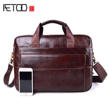 AETOO Men's Travel brown leather briefcase Genuine LeatherCowhide genuine leather laptop bag Handbags Cowhide Men Crossbody Bag - DISCOUNT ITEM  50 OFF All Category