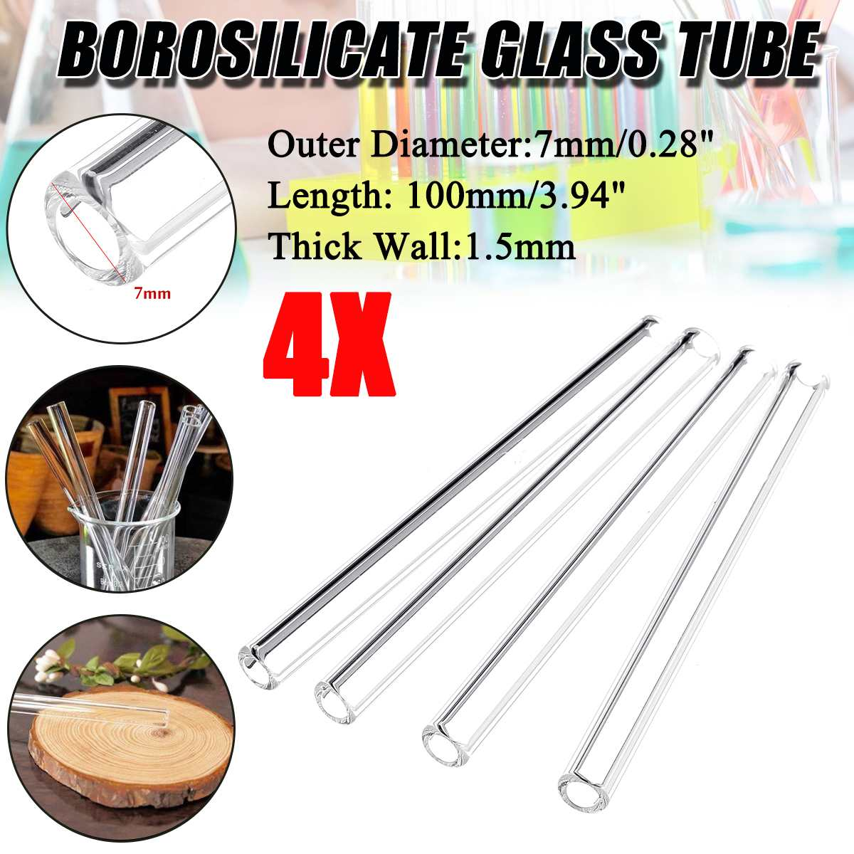Glass Blowing Tube  4Pcs 100mm OD 7mm 1.5mm Thick Wall Borosilicate Lab Tubing School Factory Laborator