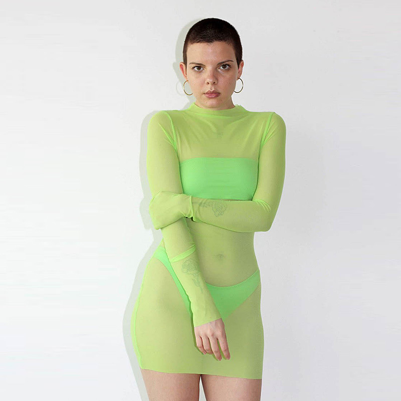 Women Mesh <font><b>Transparent</b></font> <font><b>Dress</b></font> <font><b>Sexy</b></font> <font><b>Night</b></font> <font><b>Club</b></font> Clothes Solid Long Sleeve Sheath <font><b>Dress</b></font> Summer O-Neck Elegant Female Mini <font><b>Dresses</b></font> image
