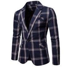 Brand Men Casual Large Lattice Blazer Suit Men Cotton Suit Jacket Slim Fit Mens Wedding Party  Blazer For Male