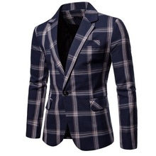 Chaqueta de algodón de gran celosía para hombre, chaqueta masculina de marca, de corte ajustado, para fiesta y boda
