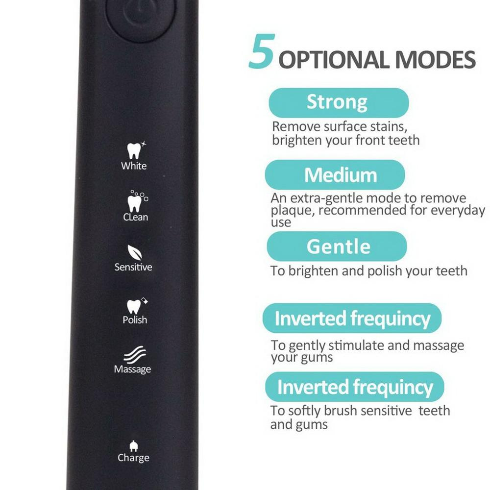 SEAGO SG - 949 Sonic Electric Toothbrush Rechargeable Adult Sonic Toothbrush 4 Mode Travel Toothbrush with 3 Brush Head Gift