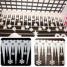 2Pc DIY Window Decoration White Snowflake Ice Strip Ornament Christmas New Year Party Snowflake