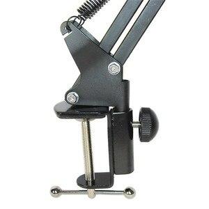 Image 4 - Erweiterbar Aufnahme Mikrofon Halter Suspension Boom Scissor Arm Ständer Halter mit Mikrofon Clip Tisch Montage Clamp