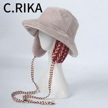 Faxu Sombrero de cubo de lana de cordero para cinta de mujeres, grueso y cálido, femenino, Bob, protector solar al aire libre, Panamá, gorra con protección de oídos