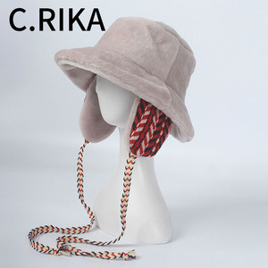 Image 1 - Winter Faxu Lambswool Bucket Hat for Women Ribbon Thick Warm Female Girls Bob Outdoor Sunscreen Panama Lady Ear Protection Cap