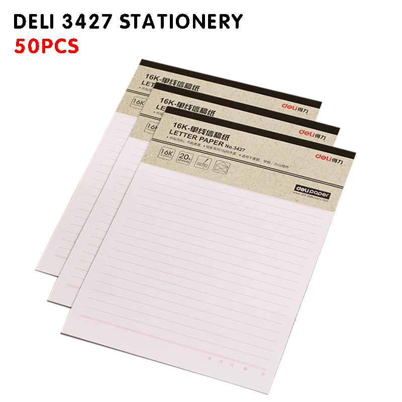 Deli 3427 Stationery, 50pcs Letterhead, Manuscript, 16K Single Line Stationery, Paper Office Stationery