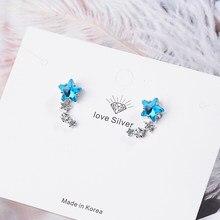925 prata esterlina luxo estrela zircon brincos azul cristal festa de casamento orelha parafuso prisioneiro jóias transporte da gota S-E767
