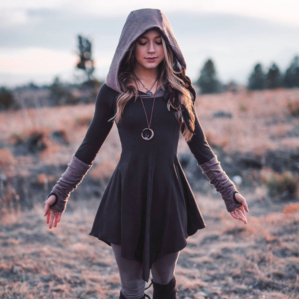 Contrast Asymmetrical Long Sleeve Dresses Women Big Hooded Slim Hooded Dress Vintage Female Autumn Winter Sweatshirt Dresses D25