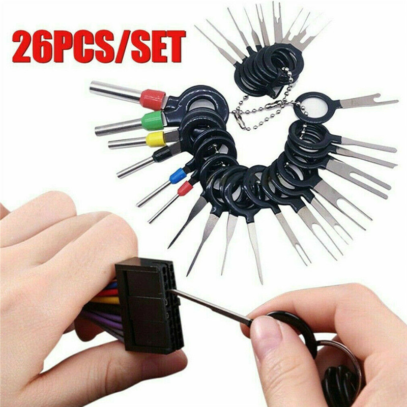 26pcs Terminal Removal Tool Car Electrical Wiring Crimp Connector Pin Extractor Car Terminal Removal Tools Pin Extractor title=