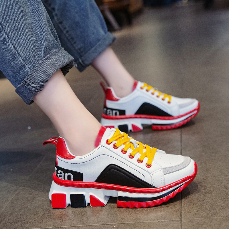 2019 Fashion Women's Chunky Sneakers Lace Up Women Platform Shoes Tenis Casual Daddy Shoes Sexy Schoenen Zapatillas Mujer F5-46