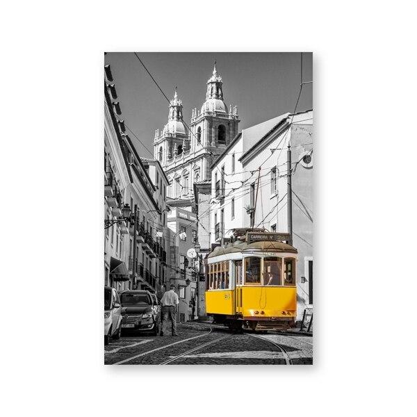 Tramway au Portugal Photo sur Toile 3 pi/èces Art Print pr/êt Couvert Taille: 120x80 cm| Peinture Murale