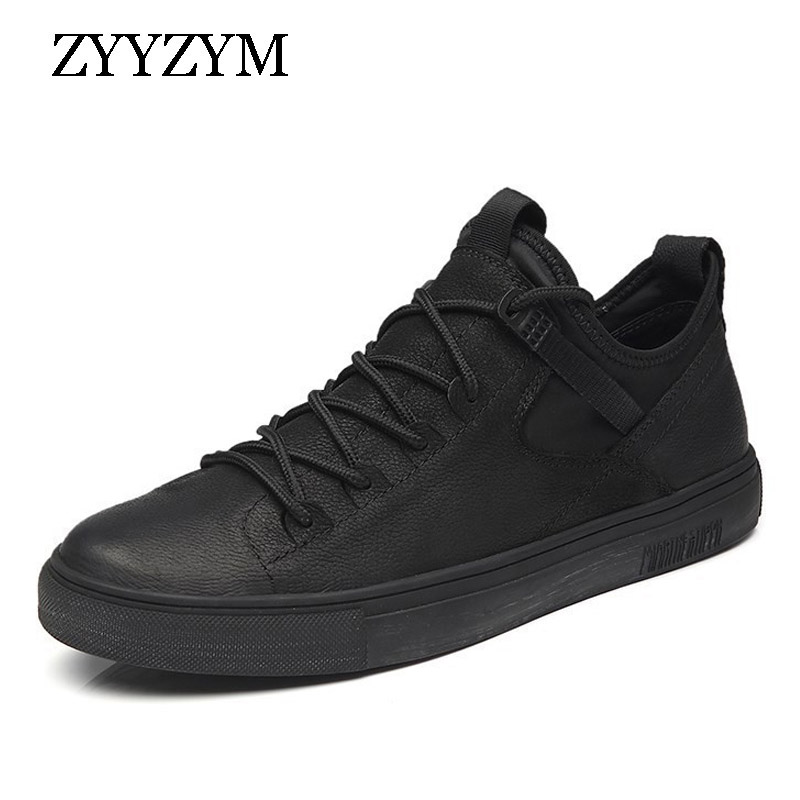 ZYYZYM Shoes Men England Style Men Casual Shoes Leather Breathable Fashion Trend Black White Men Shoes 2019 NEW High Quality