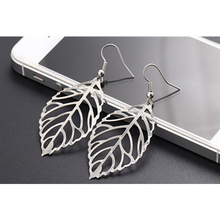 Fashion Jewelry Silver Color Gloss Leaf Drop Earrings For Women Bohemian Style Hollow Leaves Dangle Earring Gift Wholesale