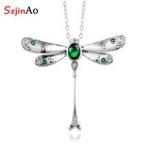Szjinao esmeralda pingente de prata pedra preciosa moda real 925 prata esterlina jóias instrução colares pingentes para mulher