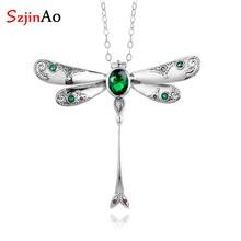 Szjinao zümrüt kolye gümüş taş moda gerçek 925 ayar gümüş takı bildirimi kolye kolye kadınlar için
