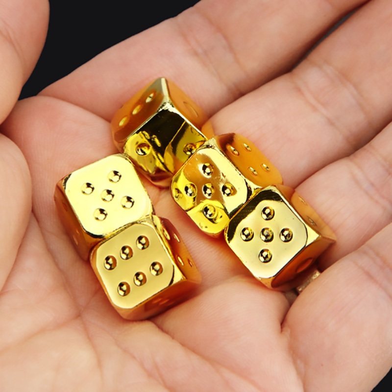 13*13mm Dice 5 PCS/Set Gold/Silver Metal Funny Dice  Standard Six Sided Decider Board Game Acessorios